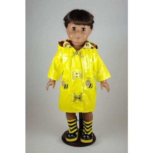 Unique Doll Clothing Bee Raincoat and Boots for 18