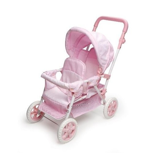 Badger Basket Folding Double Doll Front-to-Back Stroller - ピンク Gingham (fits American Girl dolls)