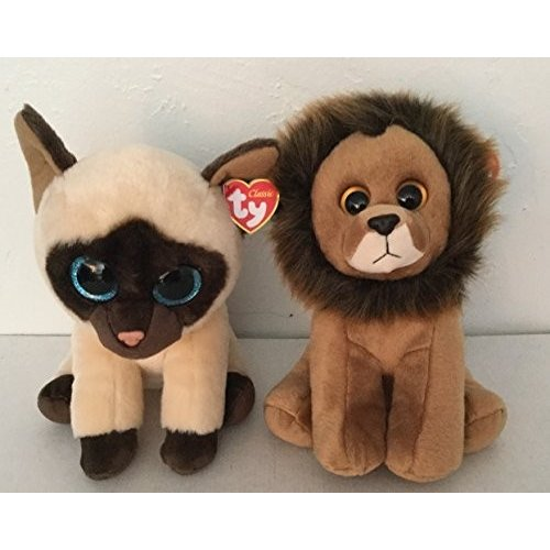 Set of 2 Ty Classic Plush - Cecil the Lion and Jaden the Cat
