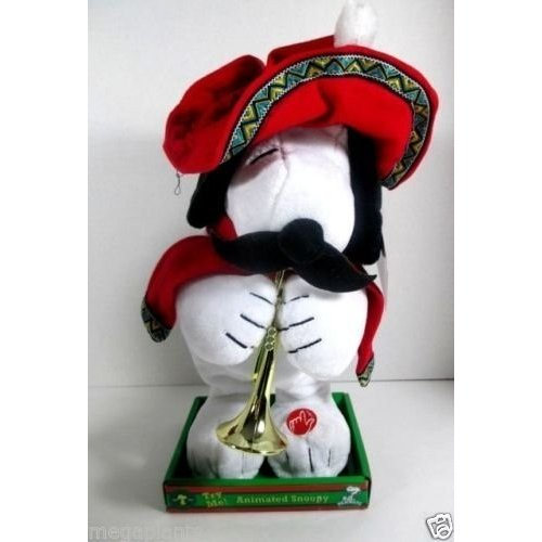 Snoopy Animated Mexican Musical Christmas Plush with Trumpet, Gyrates and Plays Feliz Navidad
