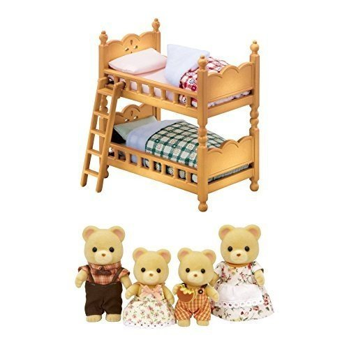 2 Sylvanian Families Sets - Bear Family and Double Bunk Bed Sold Together