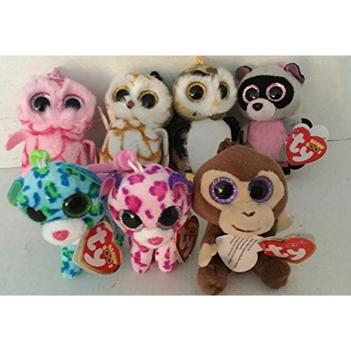 Set of 7 Ty Beanie Boos Clips: Swoops/ ピンクy/ Owliver/ Coconut / Rocco/ Glamour/ Leona