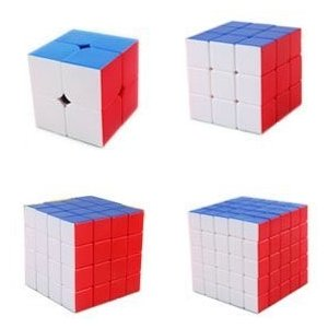 Stickerless Cube Puzzle Bundle Pack,2x2x2,3x3x3,4x4x4,5x5x5 Set . Diansheng, Moyu Yulong and Qiyi B