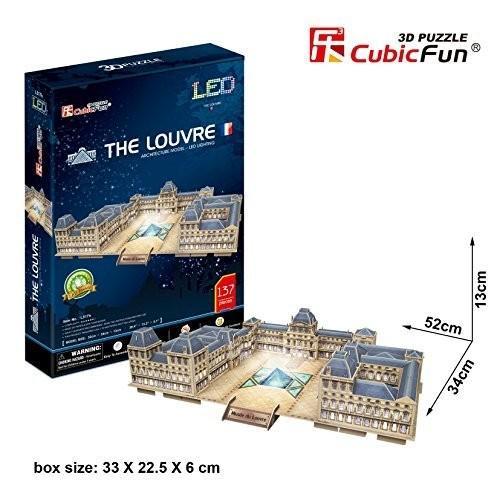 3D Puzzle Louvre Museum Building Paris France LED CubicFun Frankreich France Light L517h 137 Pieces