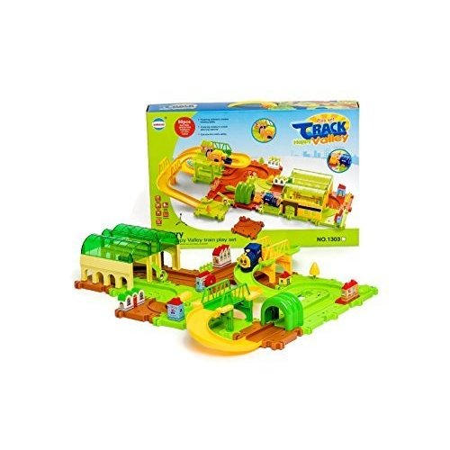 Happy Valley Train Track Set for Child Creativity Imagination 49 Piece Battery Operated Moving Trai