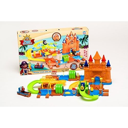 Pirate Train Track Set for Child Creativity Imagination 62 Piece Battery Operated Moving Train
