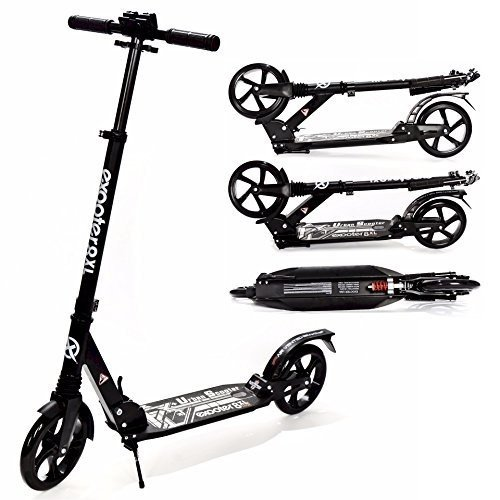 EXOOTER M1350BK 8XL Adult Cruiser Kick Scooter With Suspension Shocks In Black.