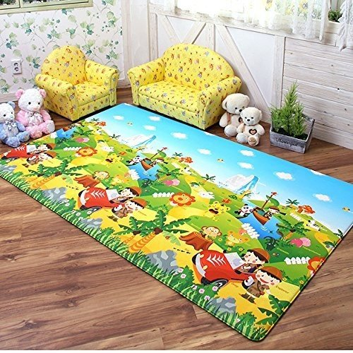 Dwinguler Eco-friendly Waterproof & Slip Resistant Reversible Kids Playmat (Safari Theme) by Dwingu