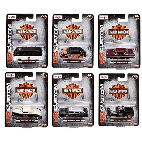 MAISTO 1:64 HARLEY DAVIDSON SET OF 6 VW BEETLE BUS FORD CHEVY HOBBY EXCLUSIVE by Maisto