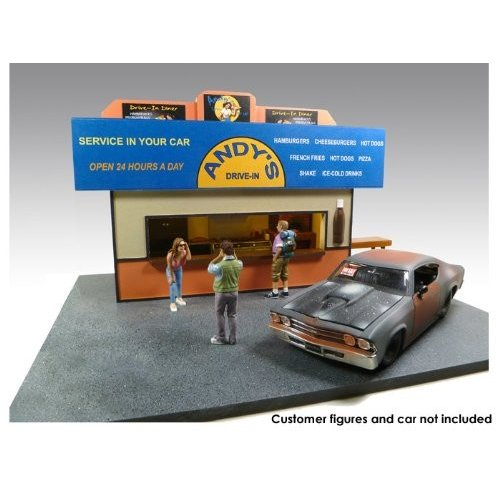 Accessories Burger Stand Diorama For 1:24 ダイキャスト Cars With 2 Chef Figures 1/24 AD77745 ミニカ
