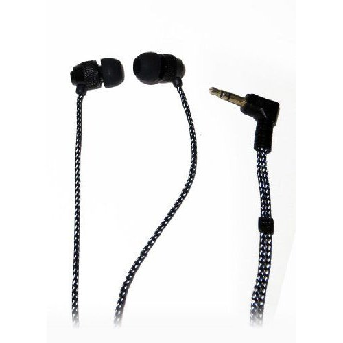 Short Buds - Short Cord Stereo Earbuds (In-Ear) with Fabric-wrapped Cords