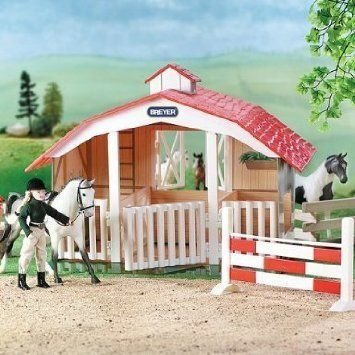 Breyer Classic 3-Stall Barn and jump (horses and doll sold separately) フィギュア おもちゃ 人形