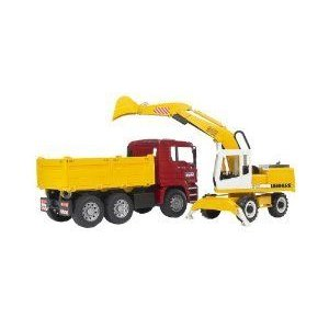 Bruder 2751 Man TGA Construction Truck and Liebherr Excavator フィギュア おもちゃ 人形