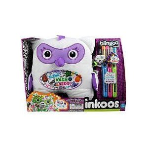 Blingoo Inkoos Plush Owl with Gems, Glitter Glue Pens & Markers - 白い & 紫の ぬいぐるみ 人形