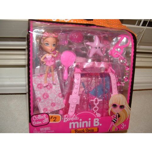Barbie バービー Mini B. Beach Series Doll #2 with ピンク Star & Case w/ Doll Stand 人形 ドール