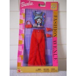 Barbie(バービー) Fashion - Long 赤 Canvas Skirt and 青 Blouse with Face - Retro Fashion (2002)