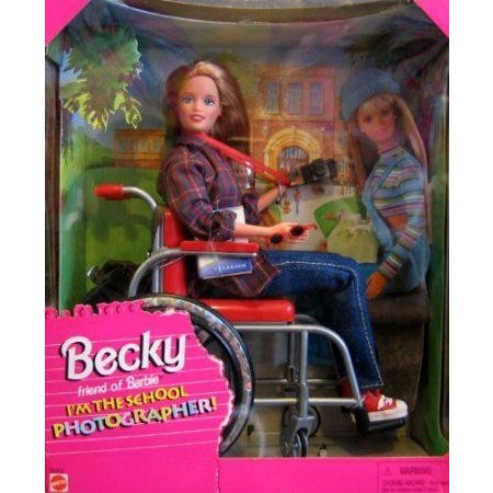 Barbie(バービー) BECKY I'm The School Photographer! Doll with Wheelchair (1998) ドール 人形 フィギ