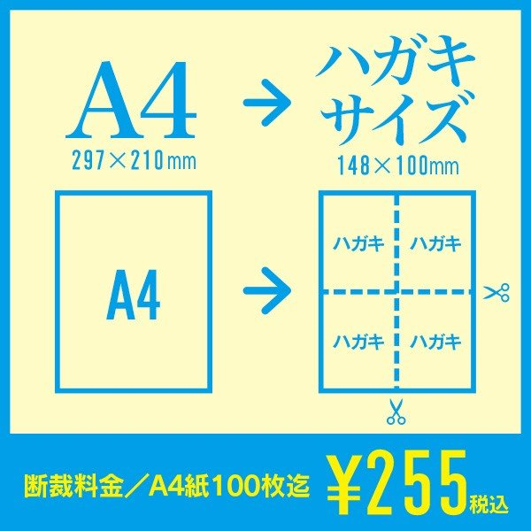 A4→ハガキサイズへ断裁|紙断裁サービス|inasatukurashi