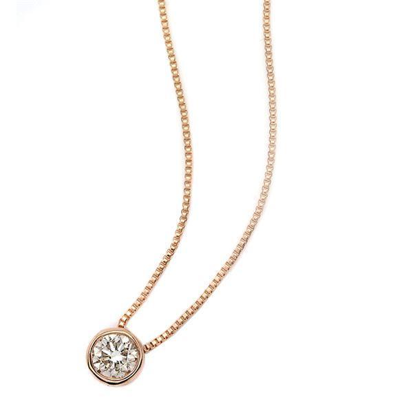 低価格で大人気の ダイヤモンド ネックレス 一粒 0.1ct K18 ピンクゴールド Nudie Heart(ヌーディーハート) 人気の覆輪留 ペンダント, ヒノエマタムラ bab43f7f