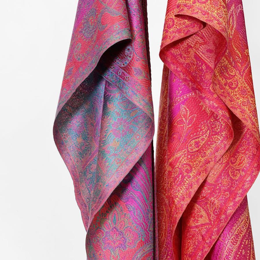 シルクストール スカーフ ペイズリー柄 細幅(36cm) 紫 春夏 大判 マフラー プレゼント|indream|02