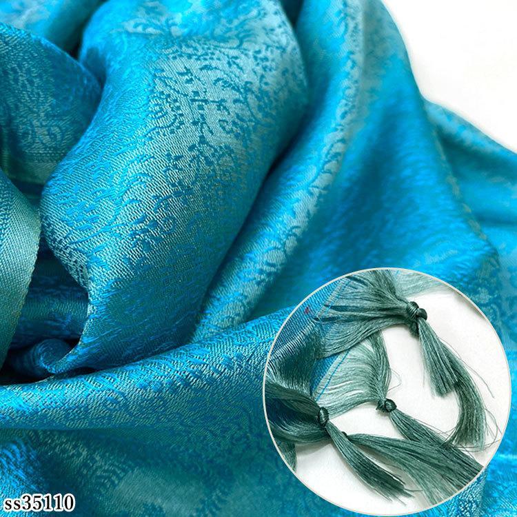 ストール シルク スカーフ 手織り グリーン フリンジ レディース メンズ 大判 マフラー クリスマス ギフト ペイズリー indream 06