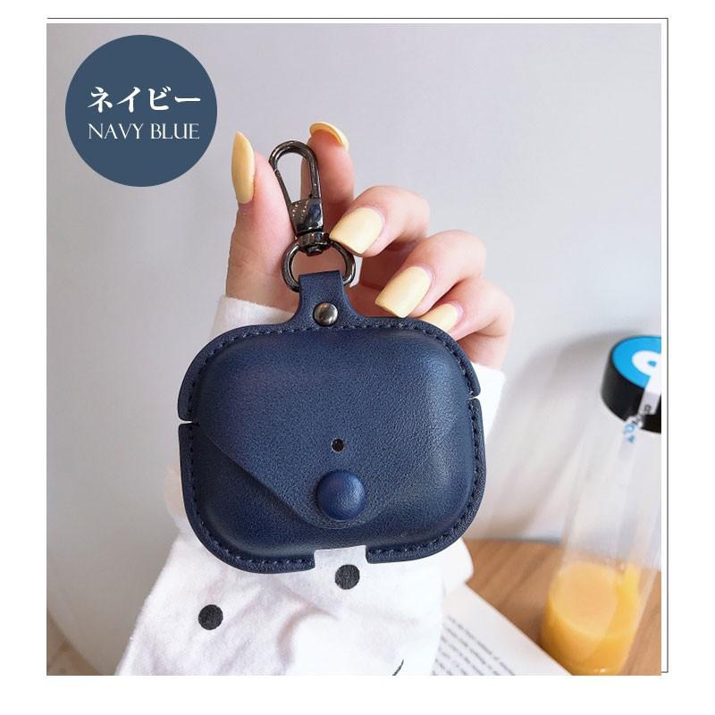 Air Pods Pro ケース puレザー AirPods Pro Case カバー カラビナ付き エアーポッズプロケース 防塵 耐衝撃 air pods proケース 高品質 イヤホンケース|initial-k|14