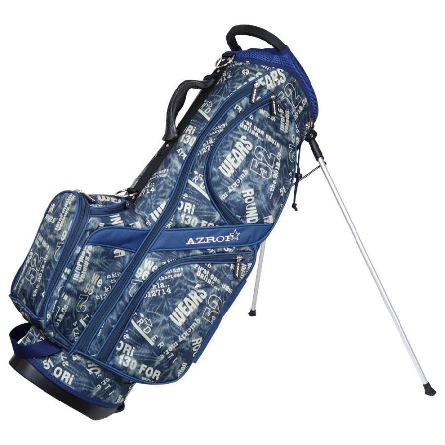 低価格 AZROF(アズロフ) スタンドキャディバッグ デニムネイビー 83ゴルフバッグ 楽 持ち運び, クニガミグン f4a55d1d