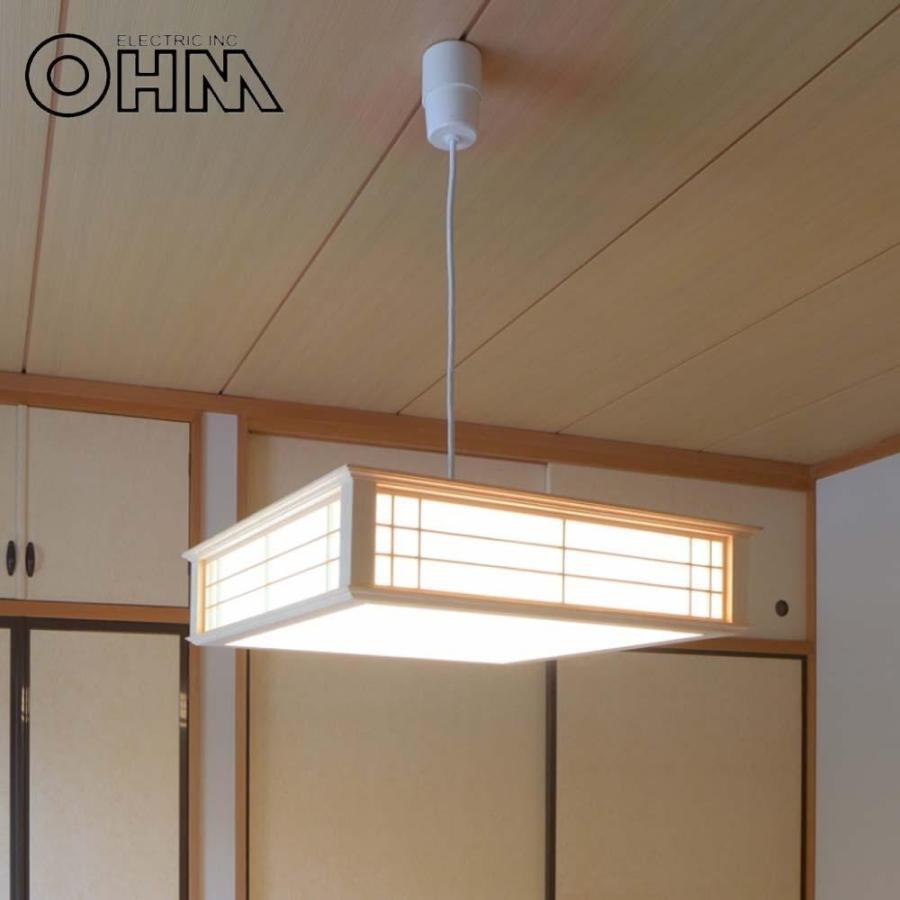 【同梱・代引き不可】 OHM LED和風ペンダントライト 調光6畳用 昼光色 LT-W30D6K-K