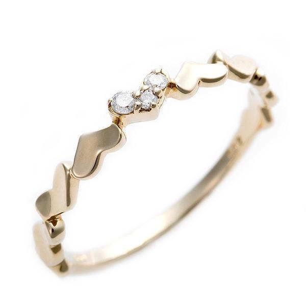 【値下げ】 送料無料ダイヤモンド ピンキーリング K10 イエローゴールド ダイヤ0.03ct ハートモチーフ 3号 指輪, 手芸の店mam 39475b2f