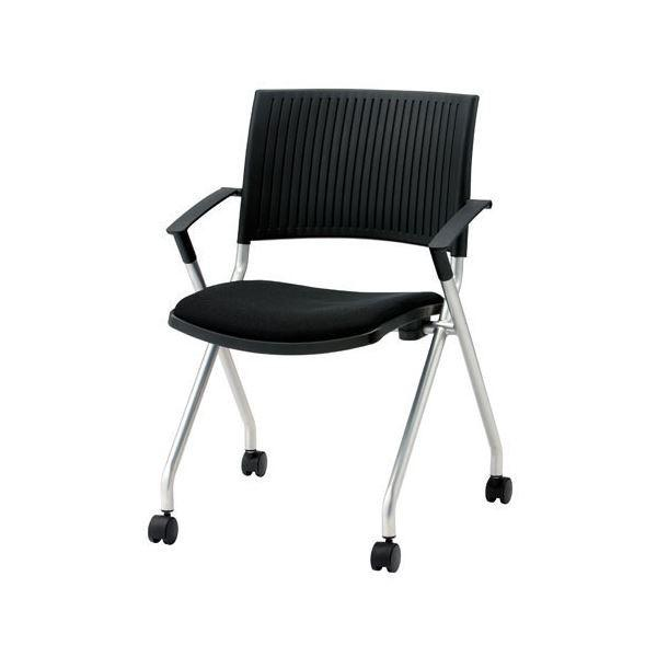 送料無料ジョインテックス 会議椅子(スタッキングチェア/ミーティングチェア) 肘付き/キャスター付き FJC-K5A ブラック 〔完成品〕