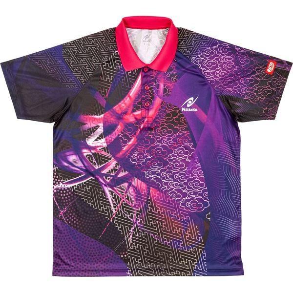 送料無料ニッタク(Nittaku) 卓球アパレル CLOUDER SHIRT(クラウダーシャツ)ゲームシャツ(男女兼用・ジュニアサイズ対応) NW2177 パープル 3S