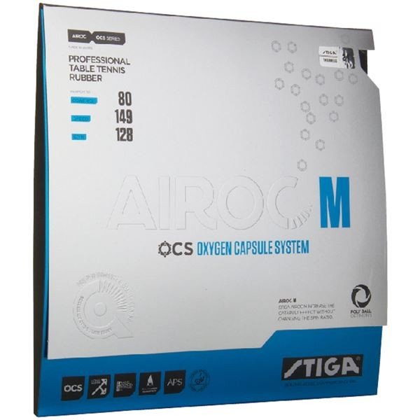 送料無料STIGA(スティガ) テンション系裏ソフトラバー AIROC M(エアロック M)ブラック 厚