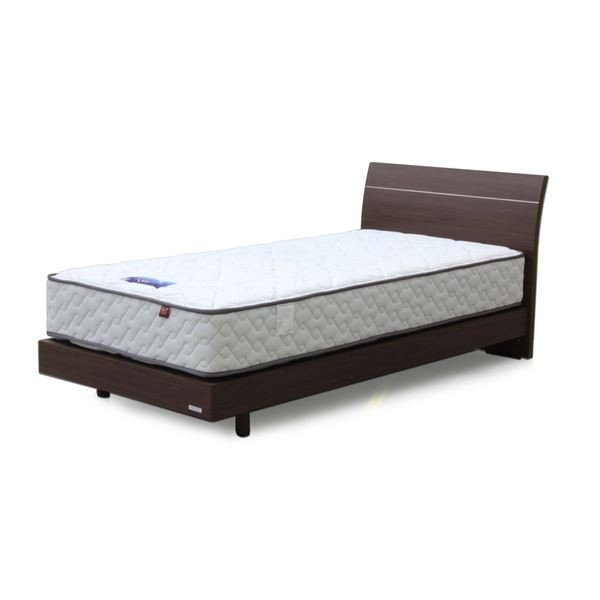 送料無料シングルベッド 5.5ポケットコイルマットレス(ハード)付き ウォールナット 『ロイミ』 レッグタイプ〔代引不可〕