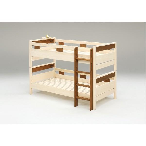 送料無料防ダニ 防カビ 抗菌 国産ヒノキ材二段ベッド (フレームのみ) シングル ブラウン 日本製ベッドフレーム 木製 はしご左右差替え可〔代引不可〕