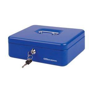 送料無料オフィスデポオリジナル 手提金庫 ブルー Mサイズ 1個