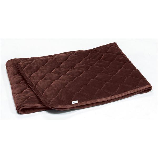 送料無料ふんわり 敷きパッド/寝具 〔ワインブラウン ダブル〕 洗える 通気性 保温性 中空わた 『ファイテン 『ファイテン PHITEN 星のやすらぎ』