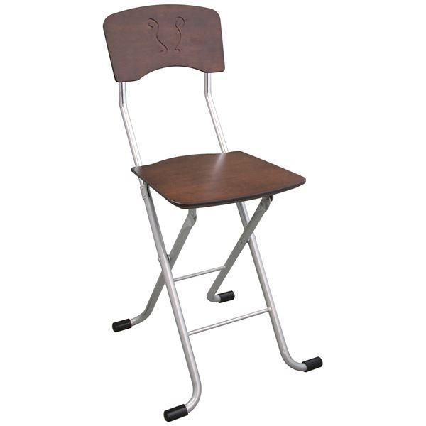送料無料折りたたみ椅子 〔2脚セット ダークブラウン×シルバー〕 幅40cm 日本製 スチールパイプ 『レイラチェア』〔代引不可〕