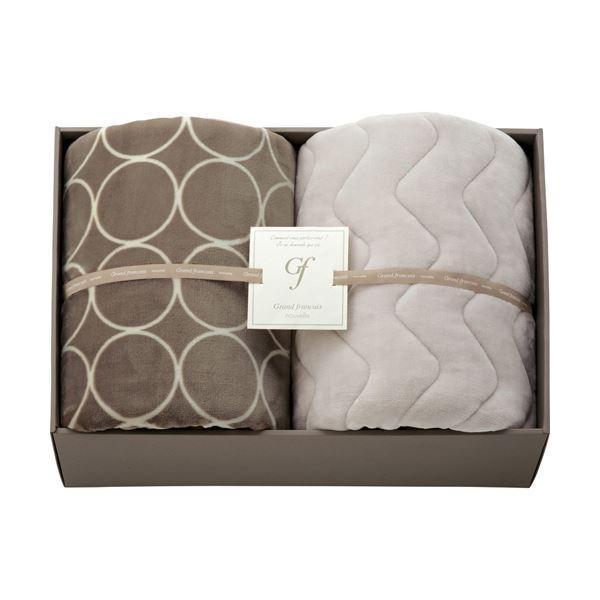 送料無料ハイソフトタッチマイヤー毛布&吸湿発熱綿入り敷パット グレージュ L3196539 L3196539