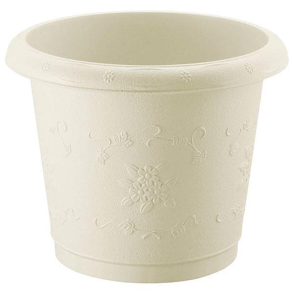 送料無料(まとめ) 筒型 プランター/植木鉢 〔アイボリー 43型〕 丸型 ガーデニング用品 園芸 〔×12個セット〕