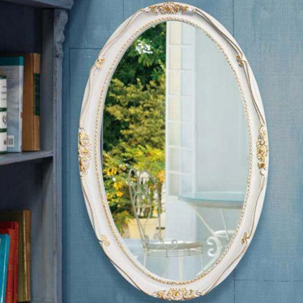 壁掛けミラー 壁掛けミラー おしゃれ 壁掛け鏡 アンティーク調 ウォールミラー ホワイト ゴールド 吊り鏡 ロマンティック