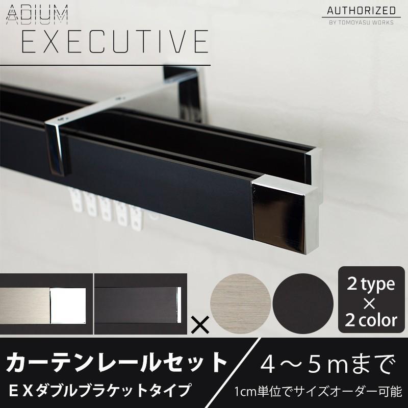 カーテンレール ダブル アイアン セット ADIUM EXECUTIVE エグゼクティブ EXダブルブラケット 4·5mまで