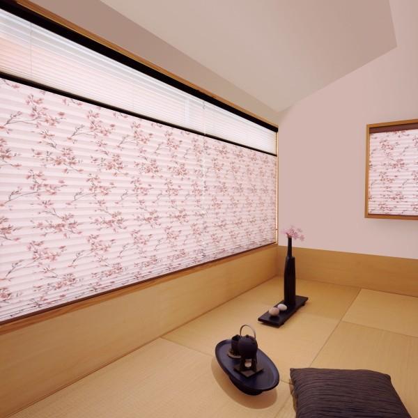 プリーツスクリーン もなみ 25mm ニチベイ 桜ほのか M8098 ツインスタイル(コード式) 幅160.5〜200cm×高さ101〜140cmまで