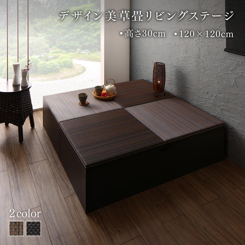 子上がり 畳 日本製 収納付き デザイン美草畳 リビングステージ 畳ボックス収納 120×120cm ロータイプ