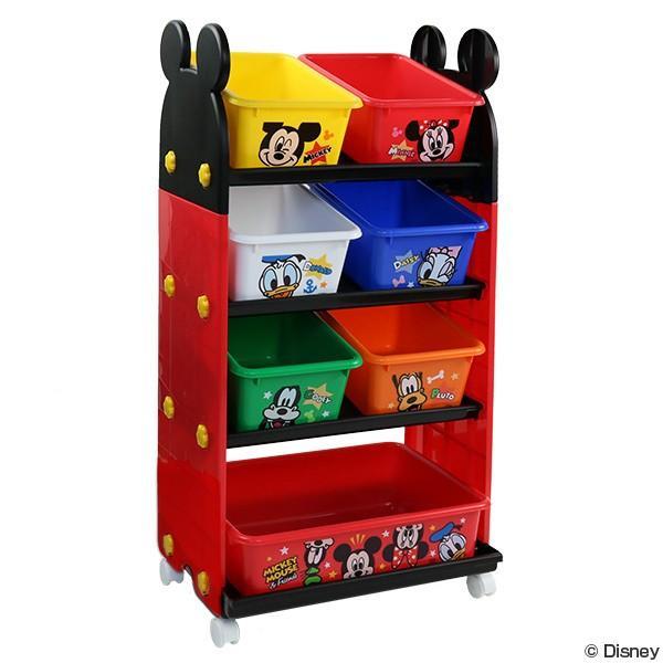 【24時間ポイント5倍】おもちゃ 収納ラック 4段 ミッキーマウス トールトイステーション ( 収納 棚 収納ボックス おもちゃ箱 )