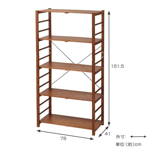 フリーラック 収納棚 オープンラック 5段 天然木 幅78cm ( オープンシェルフ ラック シェルフ 収納棚 収納ラック )|interior-palette|04