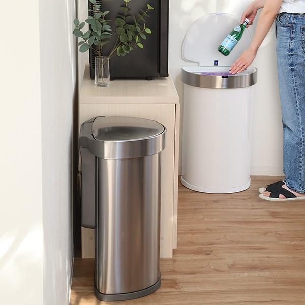 正規品 ゴミ箱 シンプルヒューマン simplehuman センサーカン セミラウンド 45L ふた付き ( 分別 ごみ箱 スリム ST2018 )|interior-palette|09