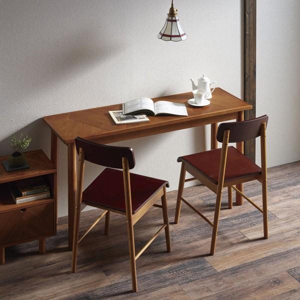 デスク ロングデスク 寄木突板 ヴィンテージ調 HENT 幅130cm ( 机 テーブル アカシア 木製 リビング )|interior-palette
