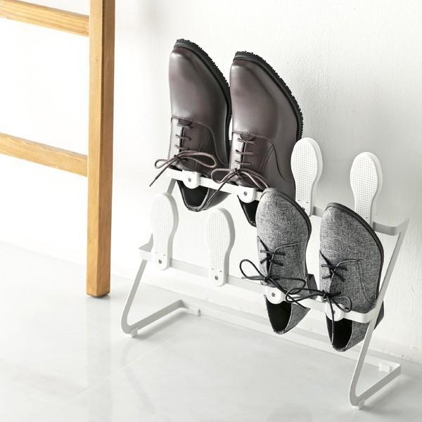 シューズラック スリッパラック 珪藻土 2段 4足用 ( 下駄箱 スリッパスタンド スリッパホルダー 靴箱 靴入れ 玄関収納 ) interior-palette 08