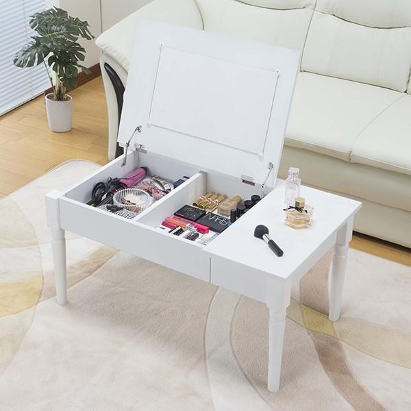 テーブル 幅80cm コスメテーブル ミラー付き コスメ アクセサリー 収納 ドレッサー センターテーブル ( デスク メイク台 化粧台 ローテーブル )|interior-palette