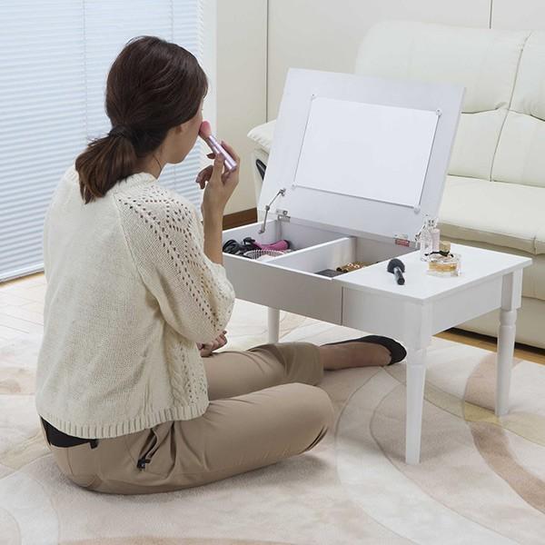 テーブル 幅80cm コスメテーブル ミラー付き コスメ アクセサリー 収納 ドレッサー センターテーブル ( デスク メイク台 化粧台 ローテーブル )|interior-palette|08
